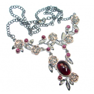 Vintage Style genuine Garnet Gold Rhodium plated over Sterling Silver handmade necklace