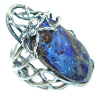 Large Spider Boulder Opal Sterling Silver handcrafted ring size adjustable
