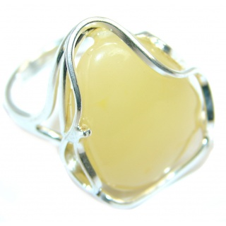 Huge Genuine Baltic Polish Amber Sterling Silver handmade Ring size adjustable