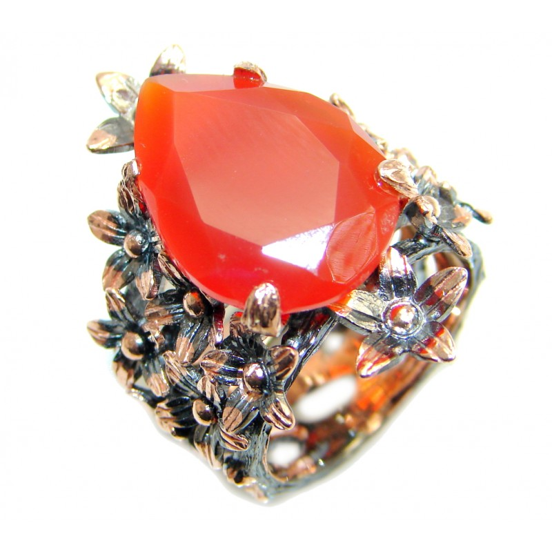 Huge Genuine Carnelian Rose Gold plated over Sterling Silver Ring 7