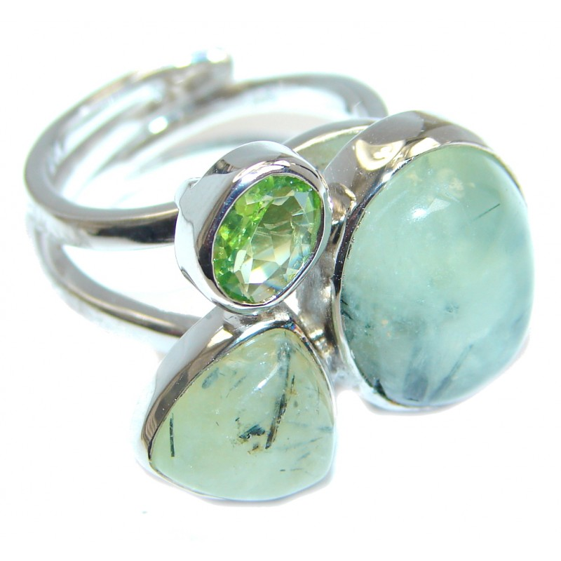 Moss Prehnite Peridot Sterling Silver ring; size adjustable