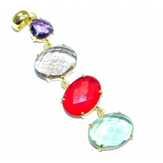 Stylish simulated Multigem Gold plated over Sterling Silver Pendant