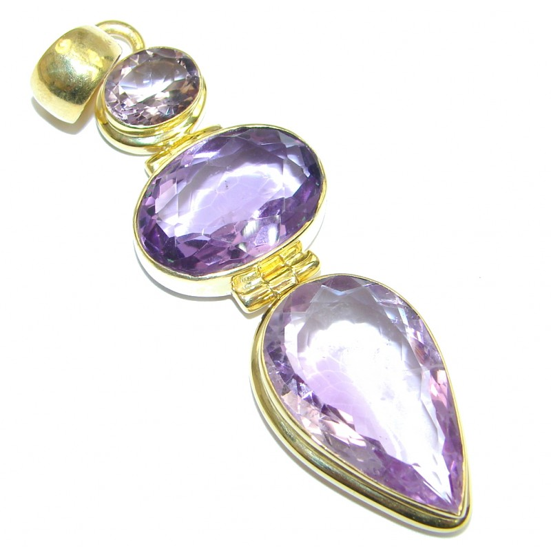 Incredible genuine Amethyst Gold plated over Sterling Silver handmade Pendant