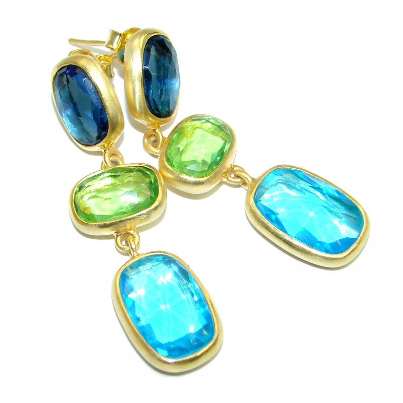 Luxury simulated Multigem Gold plated over Sterling Silver handmade earrings