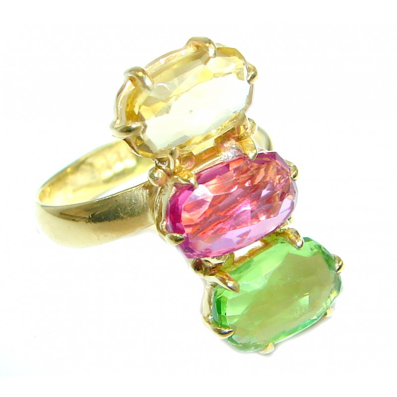 Simulated multigem Sterling Silver plated with gold ring size adjustable
