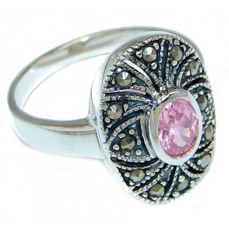 Great Pink Topaz Marcasite Shell Sterling Silver Ring s. 9