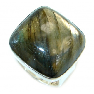 Big Blue Aura Fire Labradorite Sterling Silver ring size 8