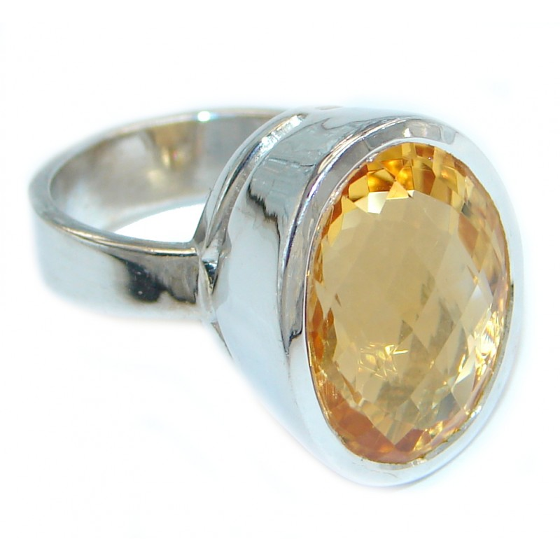 26 ct Natural Citrine Sterling Silver handcrafted ring size 6 3/4