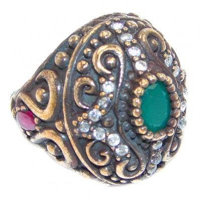 Victorian Style created Emerald & White Topaz Copper over Sterling Silver ring; s. 9