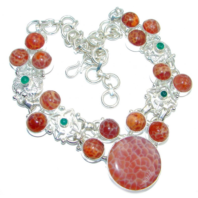 Genuine Orange Mexican Agate Silver Plated Necklace