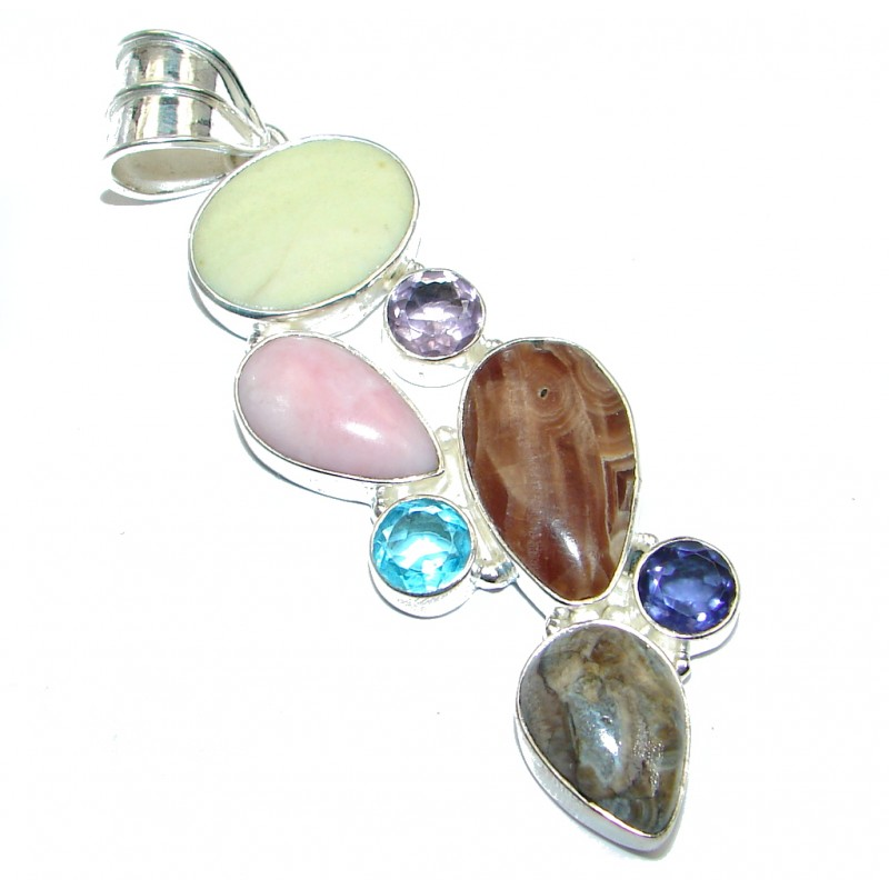 Huge Aura Of Beauty Multistone Silver Tone Pendant