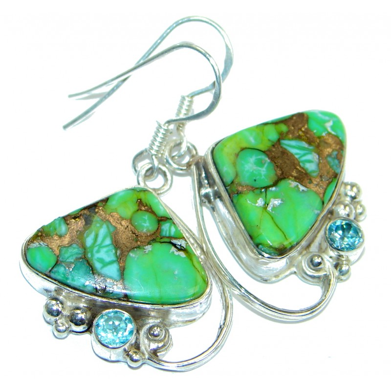 Perfect Green Turquoise with copper vains Sterling Silver earrings