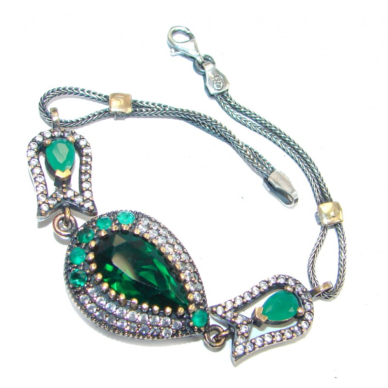 Victorian Style created Emerald & White Topaz Sterling Silver Bracelet