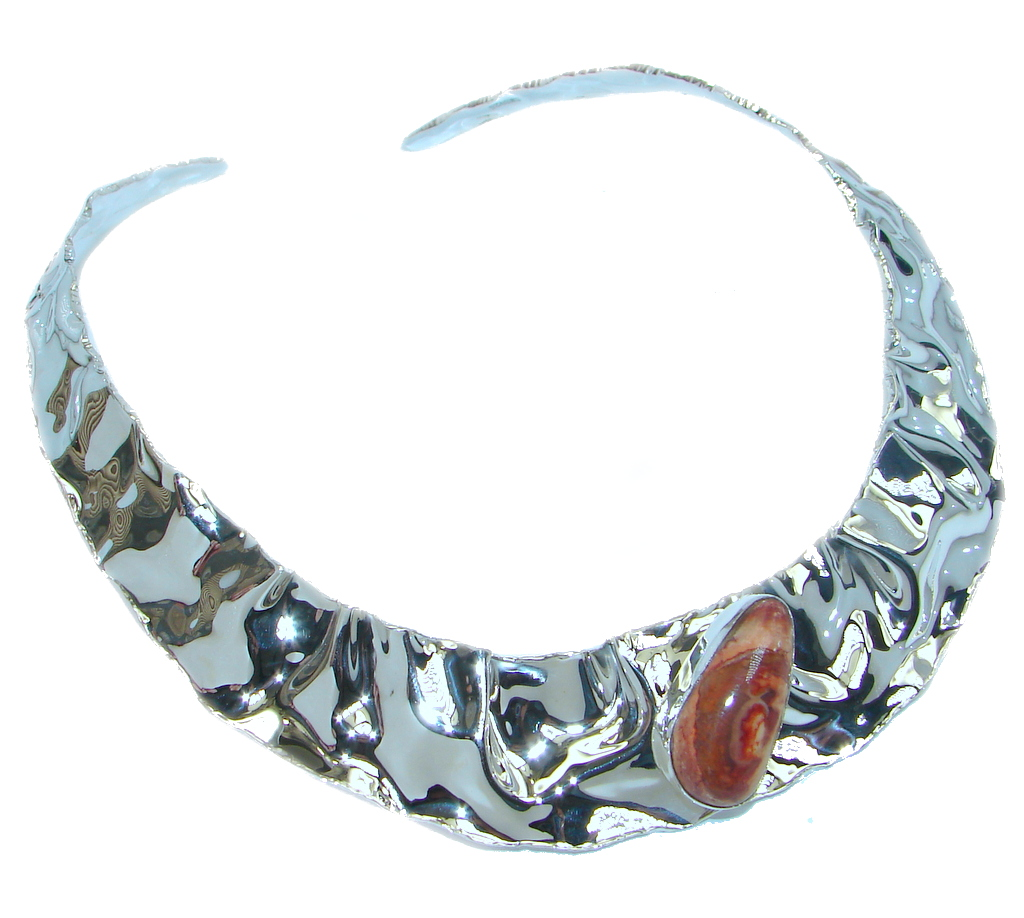 Bohemian Style Aaa Mexican Opal Hammered Sterling Silver
