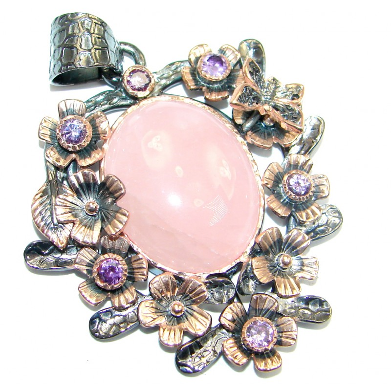Vintage Style Rose Quartz Rose Gold Rhodium plated over Sterling Silver Pendant