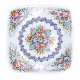 Entirely Hand painted Porcelain Dessert Plate