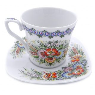 Entirely Hand painted Porcelain Cup & Saucer - perfect for any tea or coffe drinker