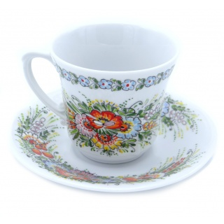 Entirely Hand painted Porcelain Espresso Cup and Saucer