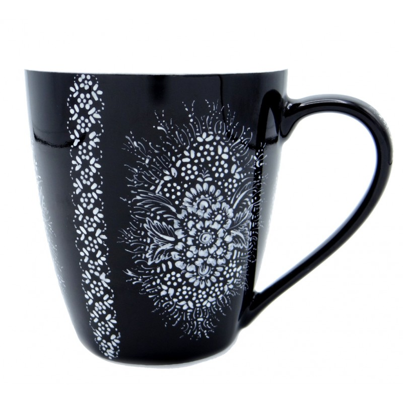 Entirely Hand painted Porcelain Black and White Mug