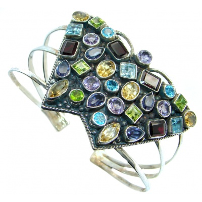 Aura Of Beauty Genuine Multigem Sterling Silver cuff Bracelet