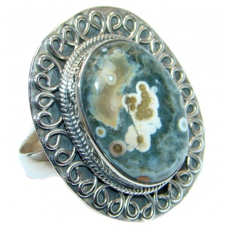 Great quality Ocean Jasper Sterling Silver handcrafted Ring size 10 1/4