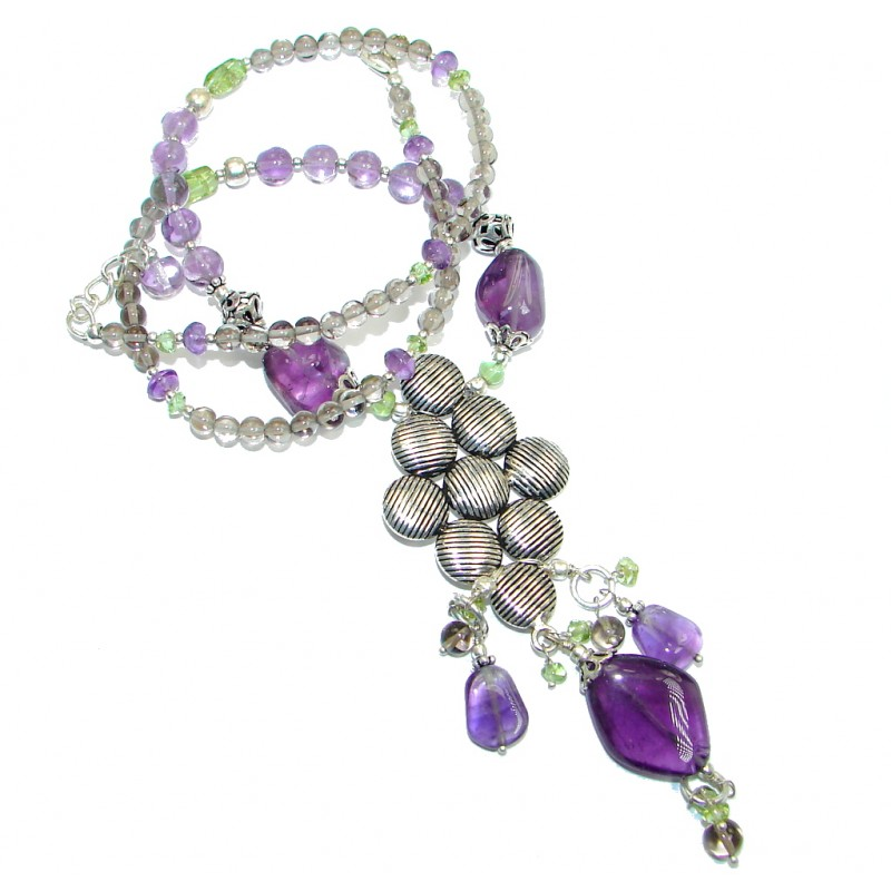 Genuine Amethyst Peridot Sterling Silver handcrafted necklace