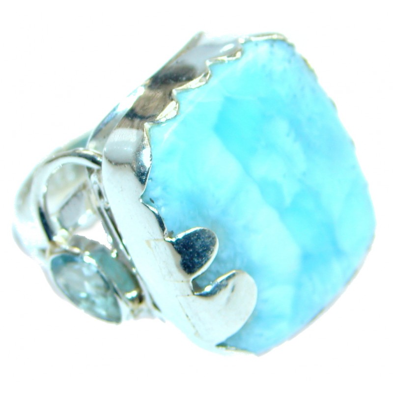 Solid Genuine Larimar Sterling Silver handmade Ring size 8