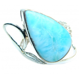 Solid Genuine Larimar Sterling Silver handmade Ring size 8 1/4