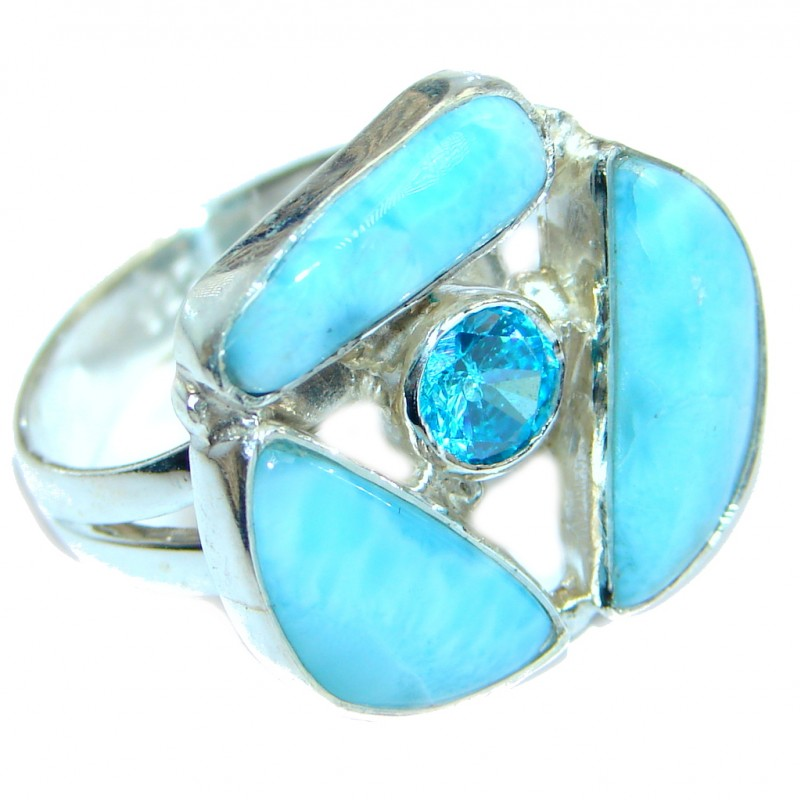 Sublime Genuine Larimar Sterling Silver handmade Ring size 9