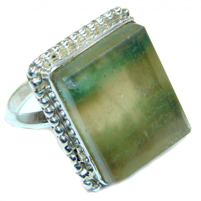 Natural Fluorite Sterling Silver ring s. 8 3/4