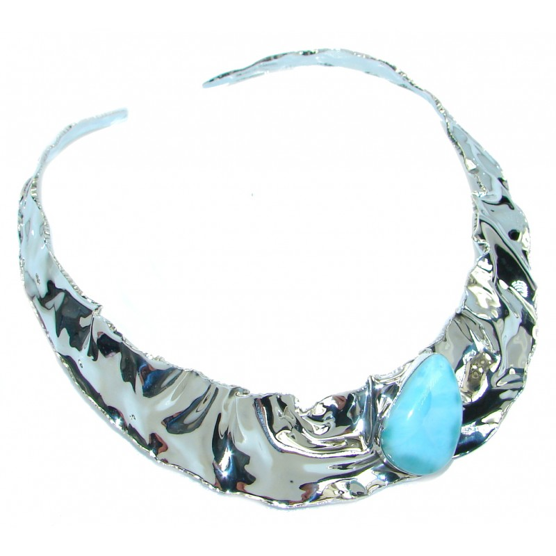 Gallery Piece Natural Larimar Hammered Sterling Silver necklace Choker