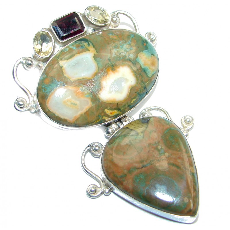 Simple Beauty Green Rainforest Jasper Sterling Silver handmade Pendant