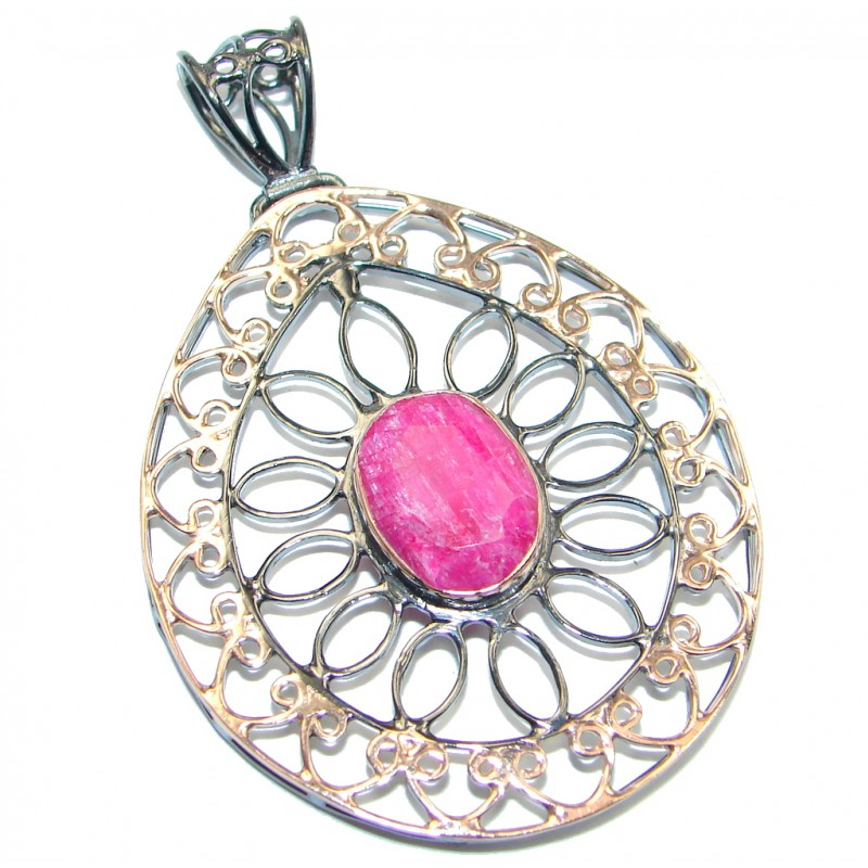 Victorian Style Ruby Rose Gold plated with Sterling Silver Pendant