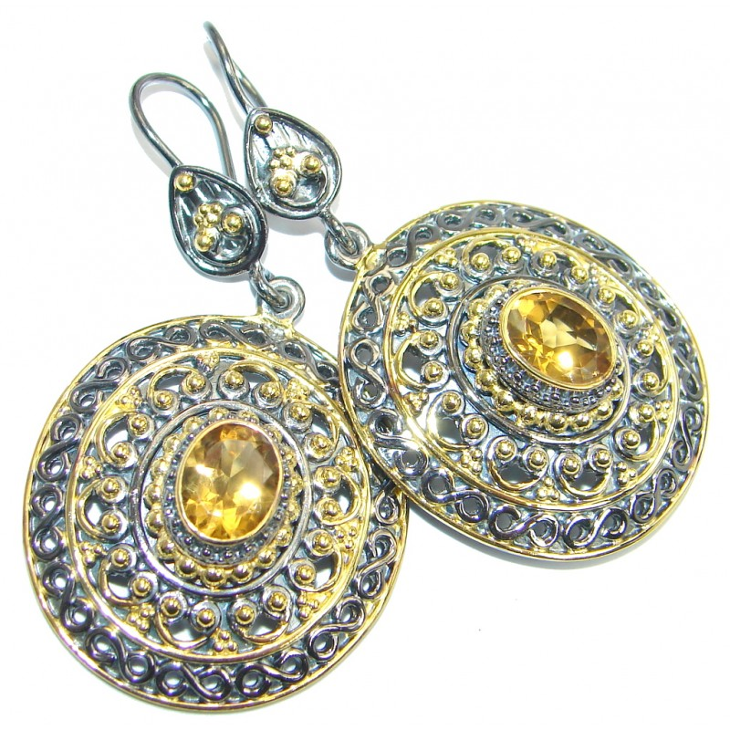 Perfect Golden Citrine Gold Rhodium plated over Sterling Silver handmade earrings