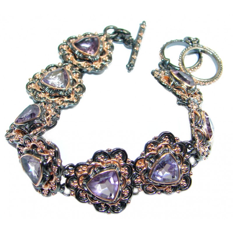 Chunky Amethyst Rose Gold plated over Sterling Silver handmade Bracelet