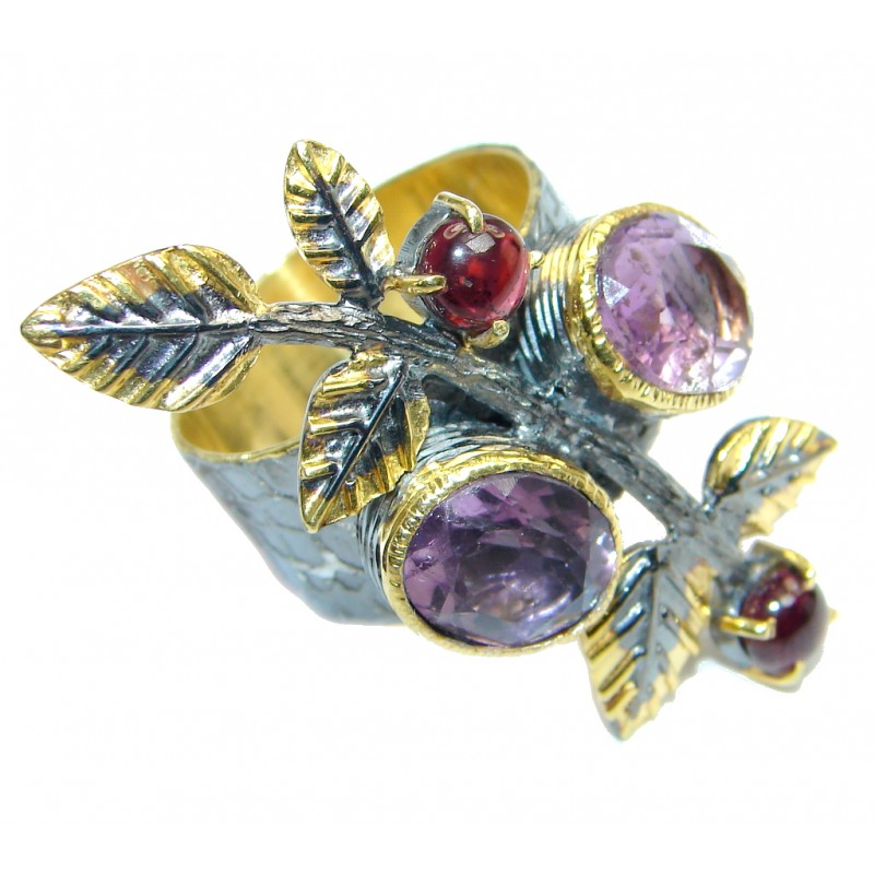 Genuine Pink Amethyst Garnet Gold plated over Sterling Silver handmade ring size 7