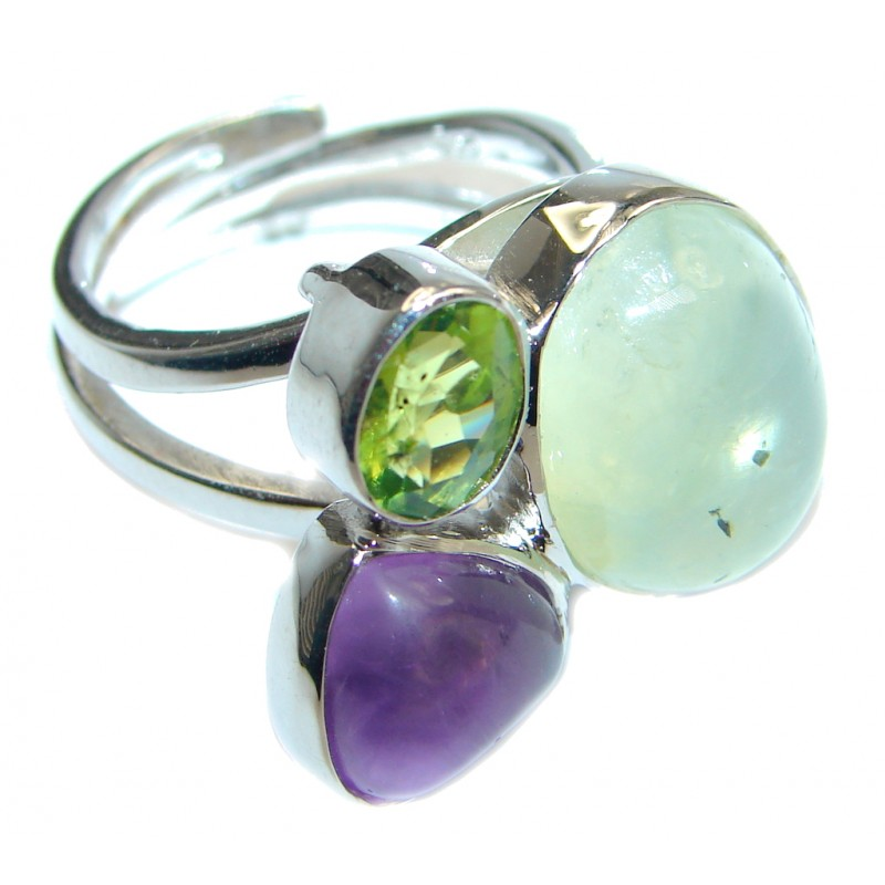 Moss Prehnite Amethyst Peridot Sterling Silver ring; size adjustable