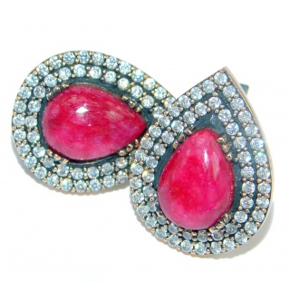 Trendy Fashion Ruby copper plated over Sterling Silver handmade earrings