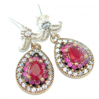 Victorian Style created Red Ruby copper over Sterling Silver earrings