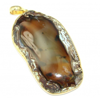 Huge 51 grams! Botswana Agate Gold plated over Sterling Silver handcrafted Pendant