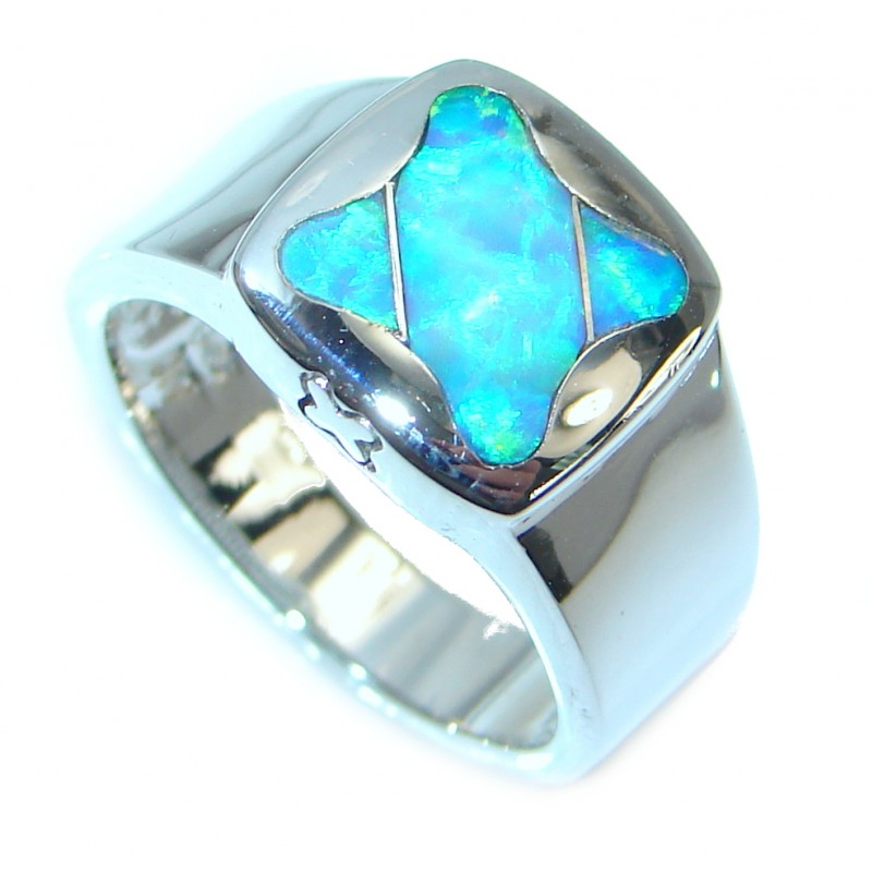 Blue Lab created Fire Opal Sterling Silver Ring size 6
