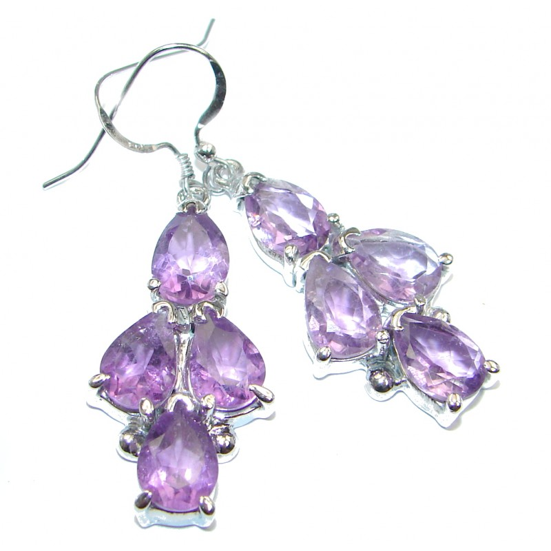Perfect Natural Amethyst Sterling Silver handmade earrings