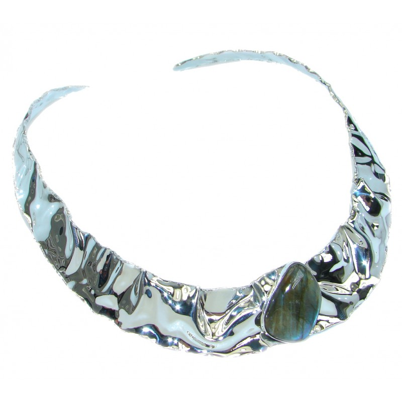 Scarlet Beauty Labradorite hammered Sterling Silver necklace / Choker