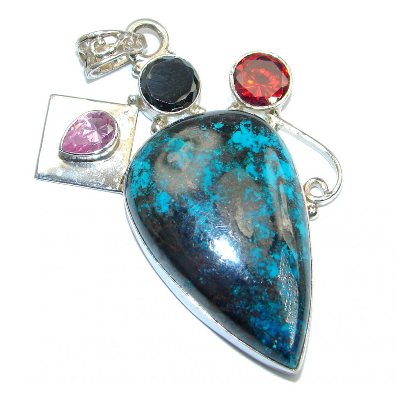 Planet Earth Blue Azurite Sterling Silver Pendant