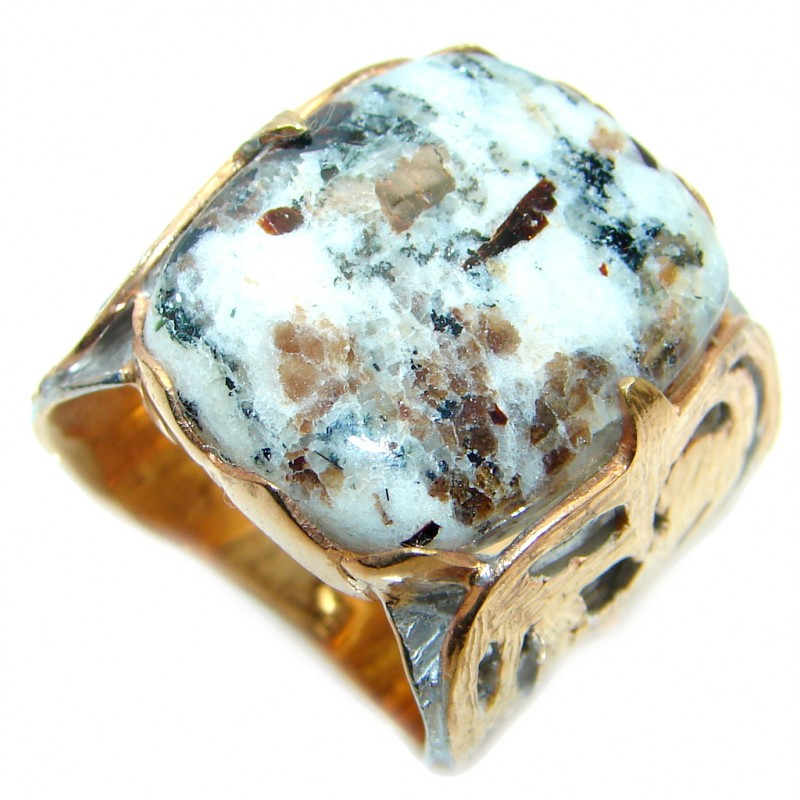 Huge Beautiful Russian Astrophyllite Gold plated over Sterling Silver ring s. 8