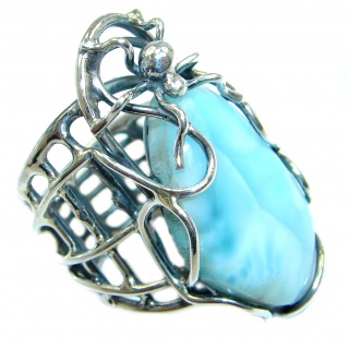 Large Spider's Web Larimar Sterling Silver handmade Ring size adjustable