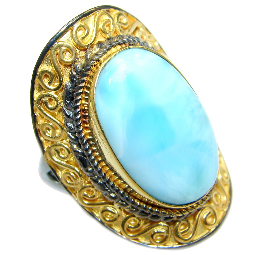 genuine larimar gold rhodium plated sterling silver handmade ring size adjustable 76. Black Bedroom Furniture Sets. Home Design Ideas