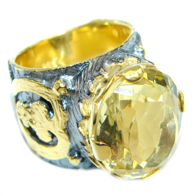 Large AAA Quality Citrine Gold Rhodium Plated over Sterling Silver ring; s. 5 3/4