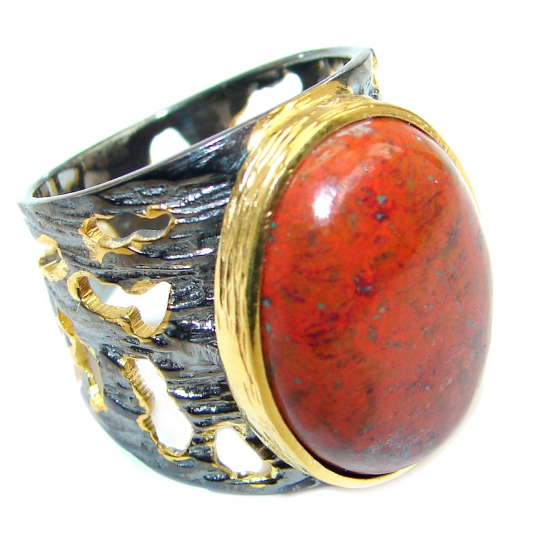 Perfect Sonora Jasper Gold Rhodium plated over Sterling Silver Ring size 7 1/2