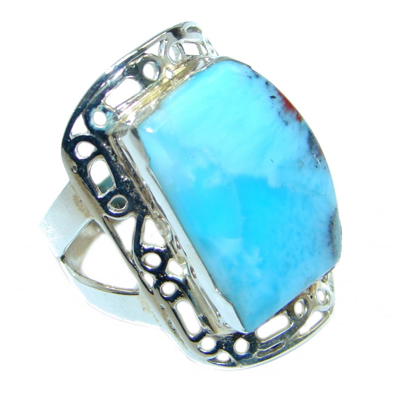 Sublime Genuine Larimar Sterling Silver handmade Ring size 10